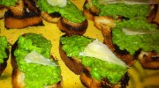 Green Pea Bruschetta with Mint and Pecorino